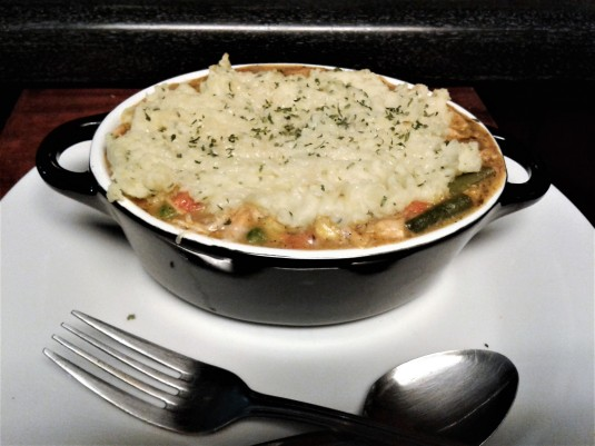 Chicken Pot Pie topped with Mashed Potatoes